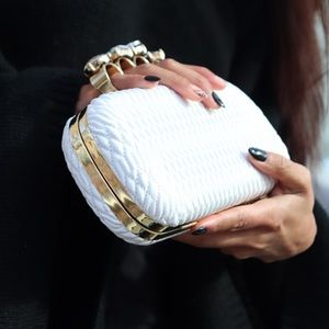 NEW White & Gold Textured Knuckle Clutch